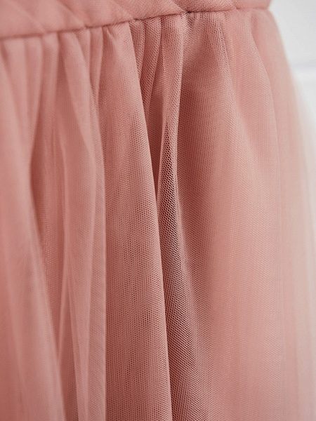 A-Line Crew Neck Maxi Lace / Tulle Junior Bridesmaid Dress With Lace / Pleats_8