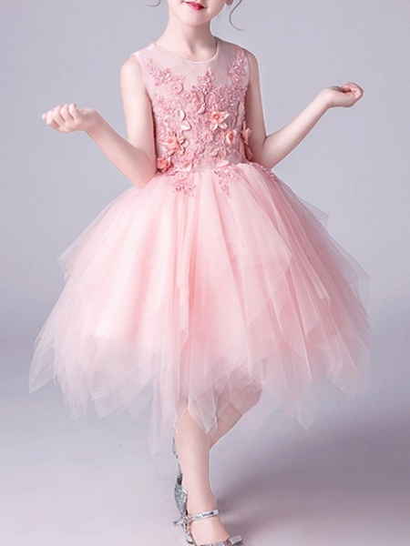 A-Line Knee Length Pageant Flower Girl Dresses - Tulle Sleeveless Jewel Neck With Beading / Appliques_3