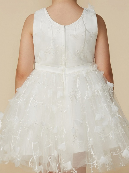 Princess Short Length Wedding / First Communion Lace Sleeveless Jewel Neck With Belt / Bow(S)_5