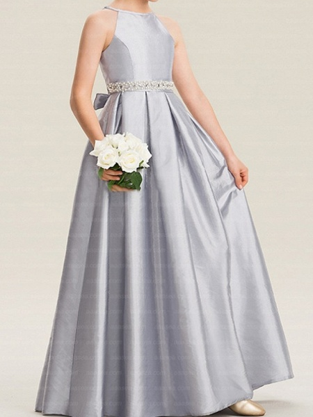 A-Line Floor Length Pageant Flower Girl Dresses - Polyester Sleeveless Halter Neck With Bow(S)_3