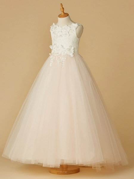 Ball Gown Floor Length Wedding / Party / Pageant Flower Girl Dresses - Lace / Tulle Sleeveless Jewel Neck With Beading / Appliques / Flower_4