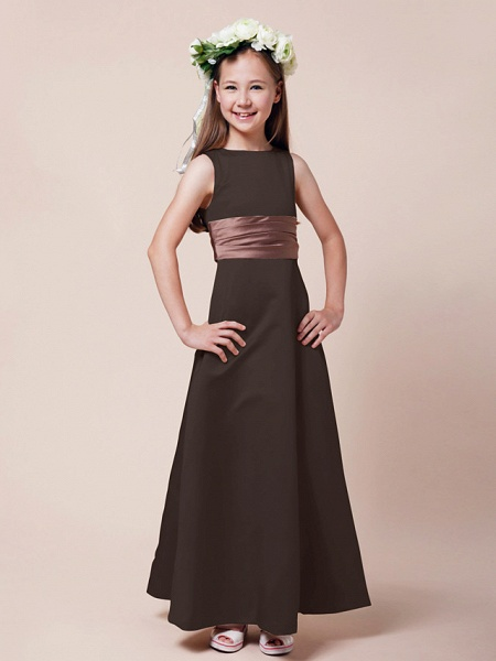 Princess / A-Line Bateau Neck Floor Length Satin Junior Bridesmaid Dress With Sash / Ribbon / Ruched / Spring / Summer / Fall / Winter / Apple_21