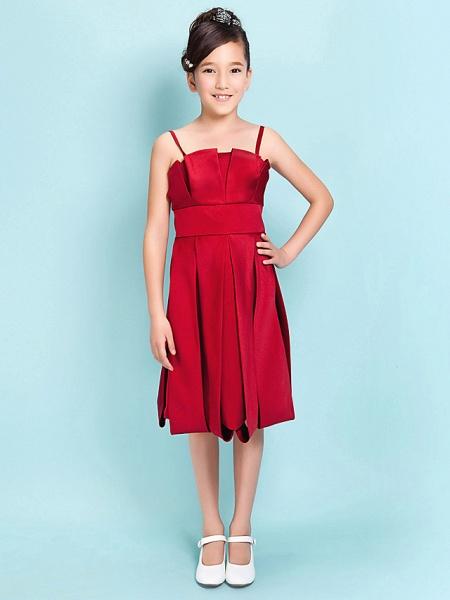 Princess / A-Line Spaghetti Strap Knee Length Satin Junior Bridesmaid Dress With Sash / Ribbon / Draping / Spring / Summer / Fall / Hourglass / Inverted Triangle_1