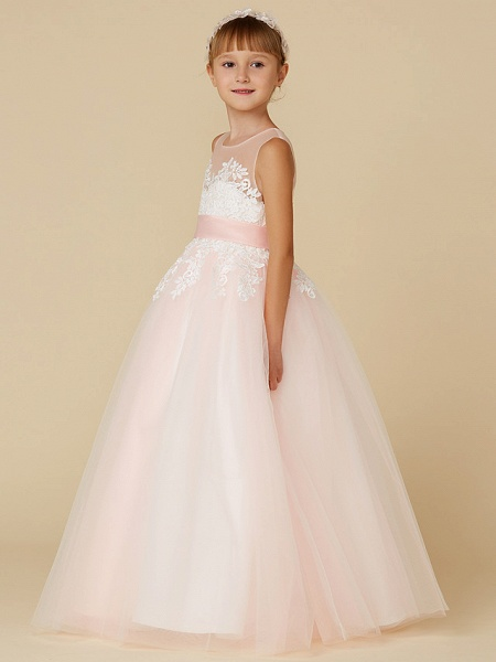 Princess Floor Length Wedding / Birthday / Pageant Flower Girl Dresses - Lace / Tulle Sleeveless Jewel Neck With Sash / Ribbon / Appliques_3