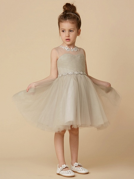 Princess Knee Length Pageant Flower Girl Dresses - Satin Sleeveless Scoop Neck With Sash / Ribbon / Criss Cross / Appliques_4