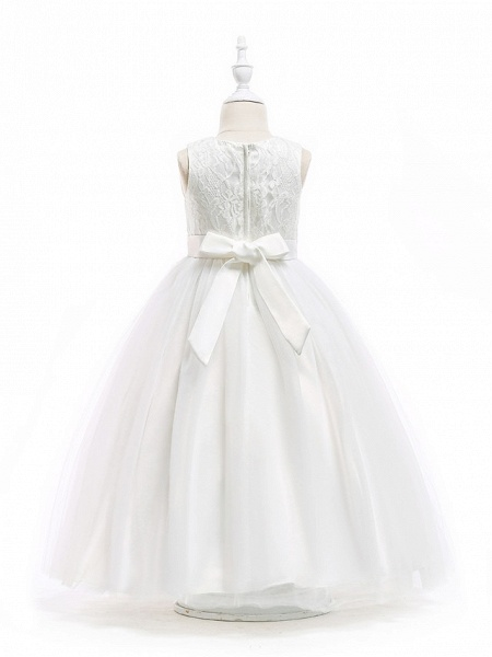 Princess Floor Length Wedding / First Communion Flower Girl Dresses - Polyester Sleeveless Jewel Neck With Lace / Sash / Ribbon / Solid_3