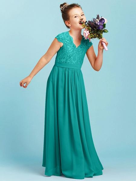 Princess / A-Line V Neck Floor Length Chiffon / Lace Junior Bridesmaid Dress With Sash / Ribbon / Pleats / Wedding Party_11