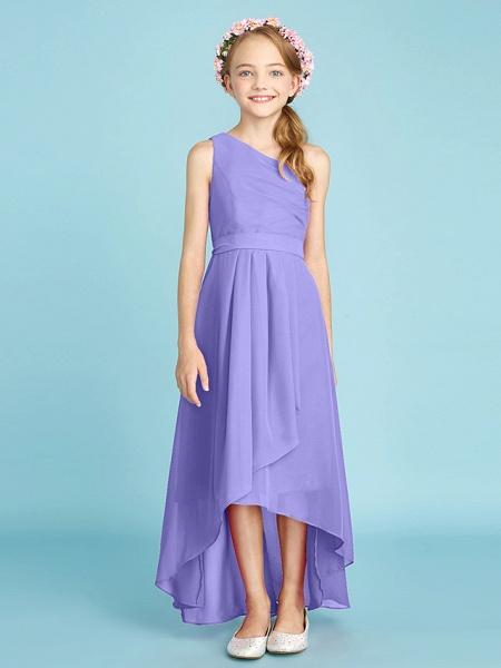 A-Line One Shoulder Asymmetrical Chiffon Junior Bridesmaid Dress With Sash / Ribbon / Bow(S) / Side Draping / Natural_41