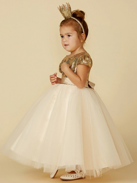 Princess Floor Length Wedding / Party / Pageant Flower Girl Dresses - Tulle / Sequined Short Sleeve Jewel Neck With Sash / Ribbon / Sequin_5