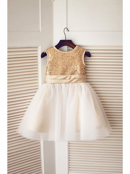 A-Line Knee Length Pageant Flower Girl Dresses - Tulle / Sequined Sleeveless Jewel Neck With Bow(S) / Sequin_5