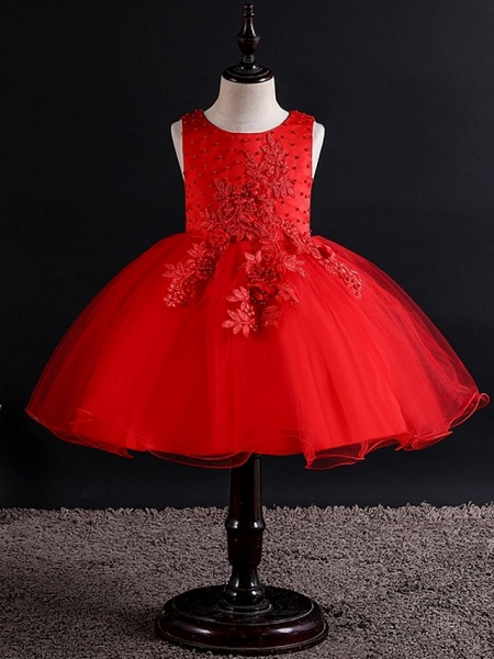 Princess / Ball Gown Knee Length Wedding / Party Flower Girl Dresses - Tulle Sleeveless Jewel Neck With Bow(S) / Beading / Appliques_4