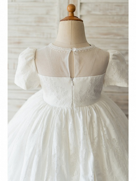 Ball Gown Knee Length Wedding / Birthday Flower Girl Dresses - Lace Short Sleeve Jewel Neck With Beading_4