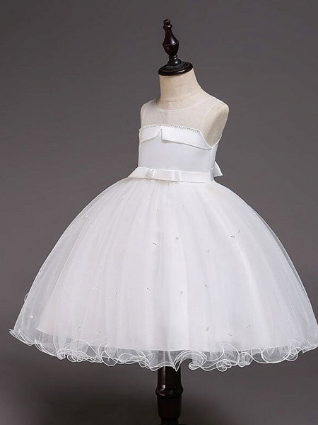 Princess Knee Length Wedding / Party / Pageant Flower Girl Dresses - Satin / Tulle / Cotton Sleeveless Jewel Neck With Belt / Crystals / Beading_9