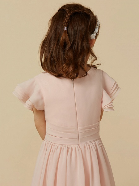 A-Line Tea Length Holiday Flower Girl Dresses - Chiffon Short Sleeve Scoop Neck With Sash / Ribbon_7
