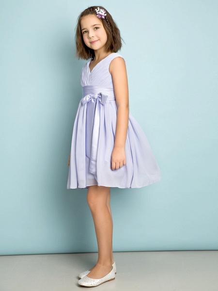A-Line V Neck Knee Length Chiffon Junior Bridesmaid Dress With Bow(S) / Criss Cross / Natural_4