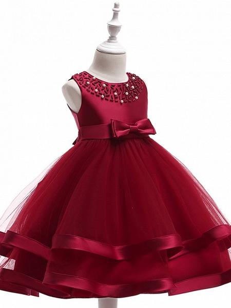 A-Line Knee Length Wedding / Birthday / Pageant Flower Girl Dresses - Cotton Blend Sleeveless Jewel Neck With Sash / Ribbon / Pearls / Trim_8
