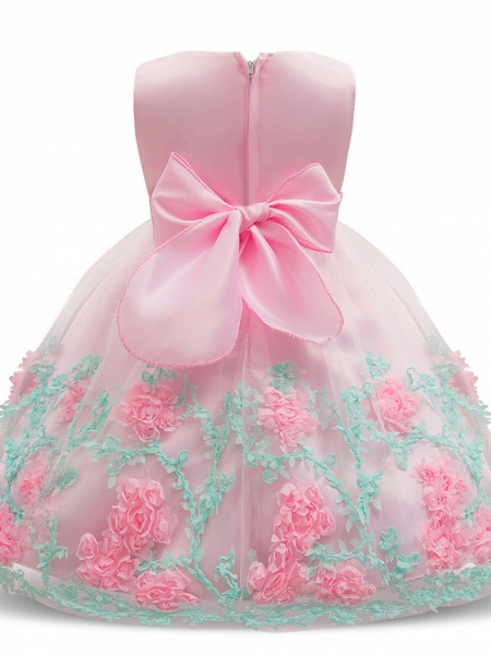 Princess Long Length Wedding / Party / Pageant Flower Girl Dresses - Satin / Tulle Sleeveless Jewel Neck With Petal / Bow(S) / Appliques_5