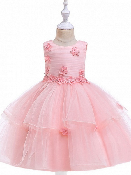 Ball Gown Floor Length Wedding / Party Flower Girl Dresses - Lace / Tulle Sleeveless Jewel Neck With Sash / Ribbon / Appliques_1