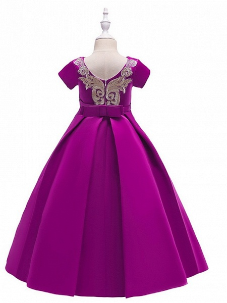 A-Line Round Floor Length Cotton Junior Bridesmaid Dress With Bow(S) / Appliques_4