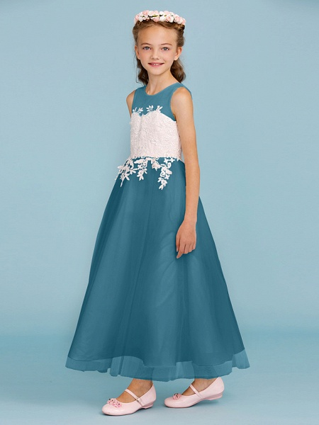 Princess / A-Line Jewel Neck Ankle Length Lace / Tulle Junior Bridesmaid Dress With Sash / Ribbon / Appliques / Wedding Party / Open Back_46