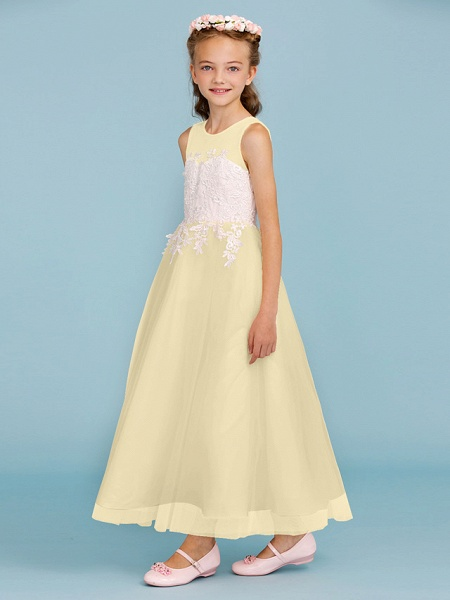 Princess / A-Line Jewel Neck Ankle Length Lace / Tulle Junior Bridesmaid Dress With Sash / Ribbon / Appliques / Wedding Party / Open Back_15
