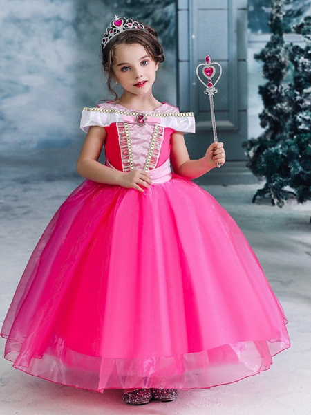 Ball Gown Floor Length Wedding / Party Flower Girl Dresses - Tulle Sleeveless Jewel Neck With Solid_1