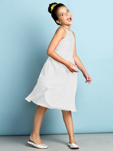 A-Line Jewel Neck Knee Length Chiffon / Lace Junior Bridesmaid Dress With Lace / Natural / Mini Me_47