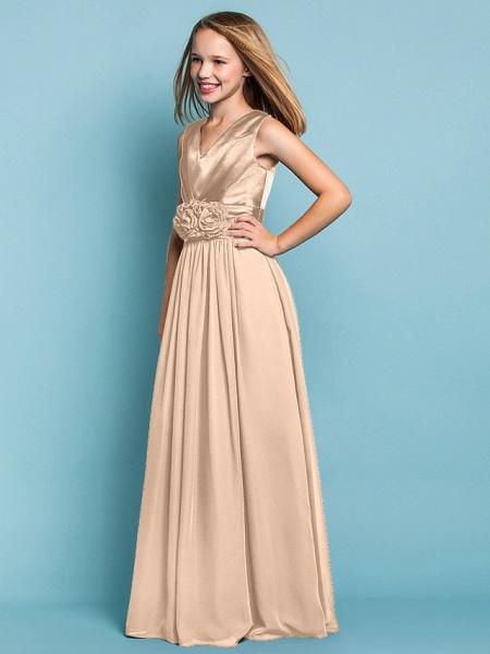 Sheath / Column V Neck Floor Length Chiffon Junior Bridesmaid Dress With Flower / Spring / Summer / Fall / Apple / Hourglass_16