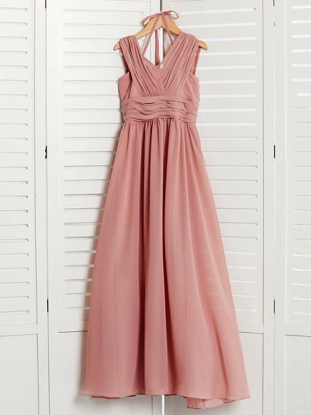 A-Line V Neck Maxi Chiffon Junior Bridesmaid Dress With Pleats / Ruching_5