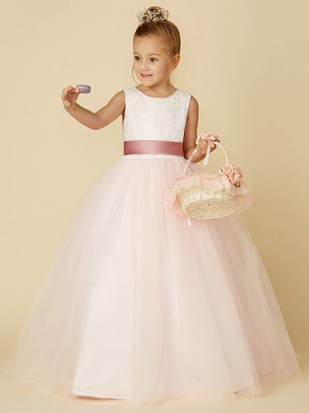 Princess Floor Length Wedding / Birthday / Pageant Flower Girl Dresses - Satin / Tulle Sleeveless Jewel Neck With Lace / Appliques_6