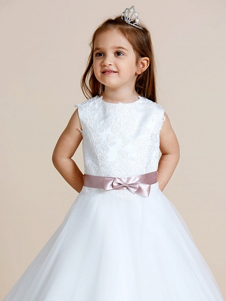 A-Line Floor Length Wedding / First Communion Flower Girl Dresses - Satin / Tulle Sleeveless Jewel Neck With Sash / Ribbon / Bow(S) / Appliques_8