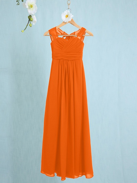 Sheath / Column Straps Ankle Length Chiffon Junior Bridesmaid Dress With Ruched / Natural_13