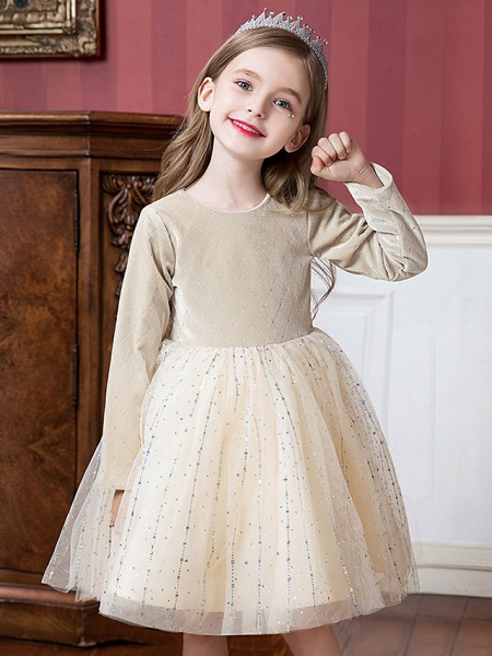 Princess / Ball Gown Knee Length Wedding / Party Flower Girl Dresses - Tulle / Velvet Long Sleeve Jewel Neck With Splicing / Paillette_4