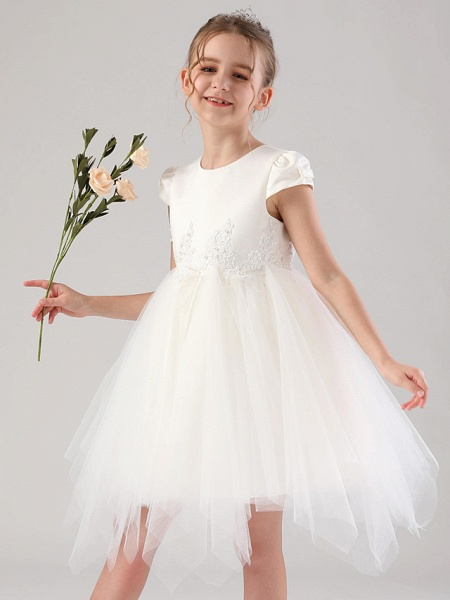 Princess / Ball Gown Royal Length Train / Medium Length Wedding / Event / Party Flower Girl Dresses - Satin / Tulle Cap Sleeve Jewel Neck With Beading / Appliques / Tiered_5