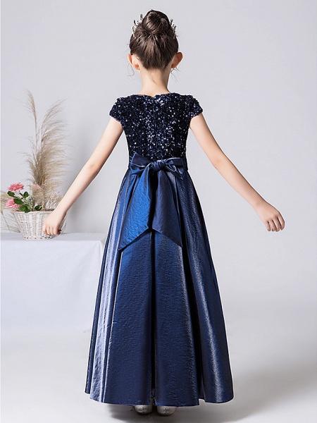 Sheath / Column Floor Length Event / Party / Birthday Flower Girl Dresses - Satin / Sequined Cap Sleeve Jewel Neck With Pleats_9