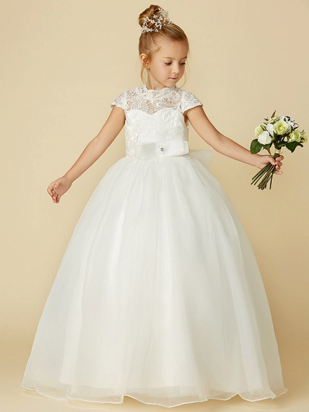 Ball Gown Floor Length Wedding / First Communion Flower Girl Dresses - Lace / Tulle Short Sleeve High Neck With Lace / Sash / Ribbon / Bow(S)_5