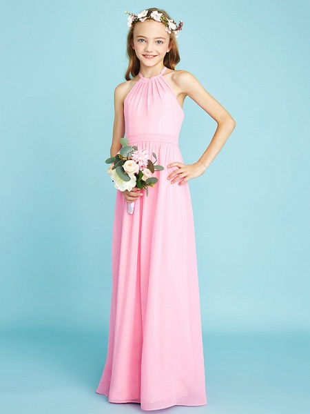 A-Line Halter Neck Floor Length Chiffon Junior Bridesmaid Dress With Sash / Ribbon / Natural