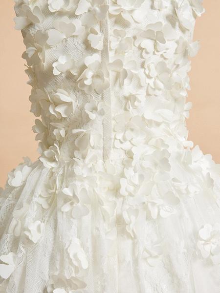 A-Line Tea Length Wedding / First Communion Flower Girl Dresses - Lace Sleeveless Jewel Neck With Flower_6