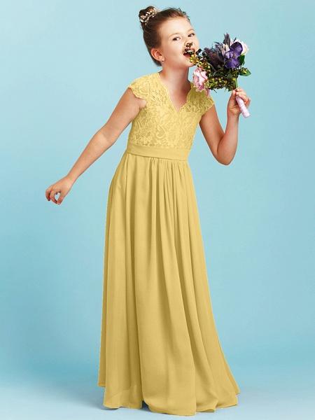 Princess / A-Line V Neck Floor Length Chiffon / Lace Junior Bridesmaid Dress With Sash / Ribbon / Pleats / Wedding Party_37