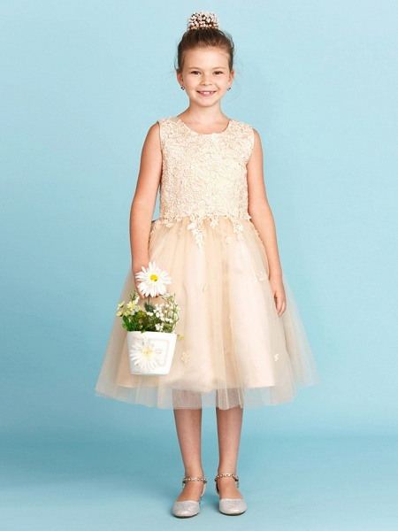 Princess / A-Line Jewel Neck Knee Length Lace / Tulle Junior Bridesmaid Dress With Bow(S) / Appliques / Wedding Party_3