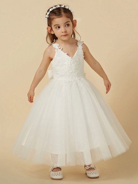 A-Line Knee Length Wedding / First Communion Flower Girl Dresses - Lace / Tulle Sleeveless V Neck With Bow(S)_4
