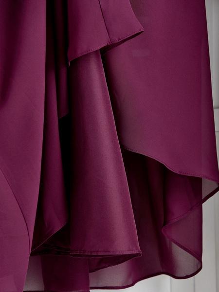 A-Line V Neck Maxi Chiffon / Lace Junior Bridesmaid Dress With Appliques_9