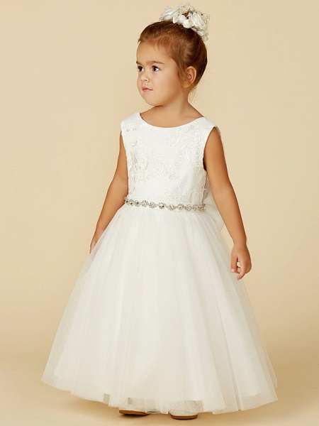 Princess Floor Length Wedding / First Communion Flower Girl Dresses - Lace / Tulle Sleeveless Jewel Neck With Lace / Sash / Ribbon / Bow(S)_4