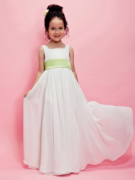 Princess / A-Line Floor Length Wedding Party Chiffon Sleeveless Square Neck With Sash / Ribbon / Draping / Spring / Summer / Fall