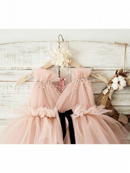 Ball Gown Knee Length Wedding / Birthday Flower Girl Dresses - Tulle Sleeveless V Neck With Belt / Pearls_3