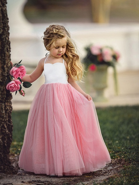 Ball Gown Floor Length Wedding / Party Flower Girl Dresses - Tulle Sleeveless Jewel Neck With Color Block_1