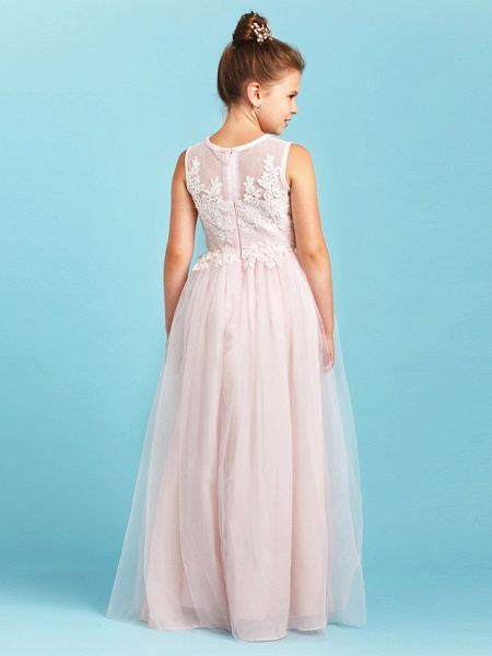 Princess / A-Line Jewel Neck Floor Length Tulle Junior Bridesmaid Dress With Pleats / Appliques / Wedding Party / See Through_2