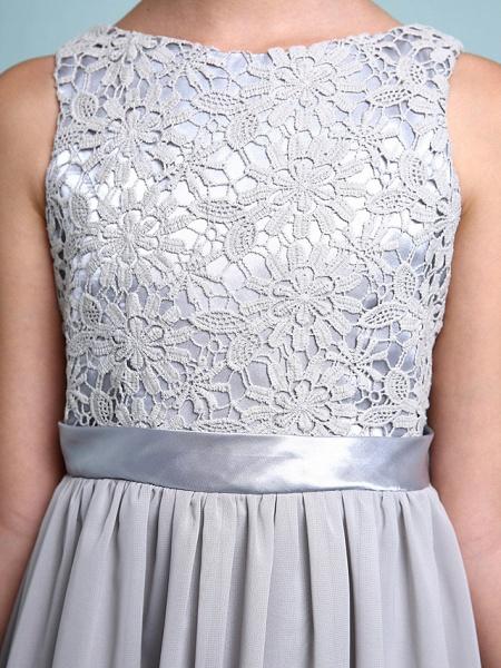 Sheath / Column Bateau Neck Floor Length Chiffon / Lace Junior Bridesmaid Dress With Lace / Natural_10