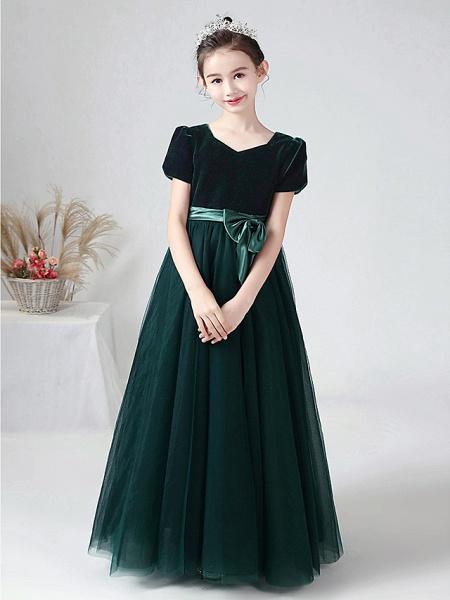 Ball Gown Floor Length Wedding / Party Flower Girl Dresses - Tulle / Velvet Short Sleeve Bateau Neck With Bow(S)_4
