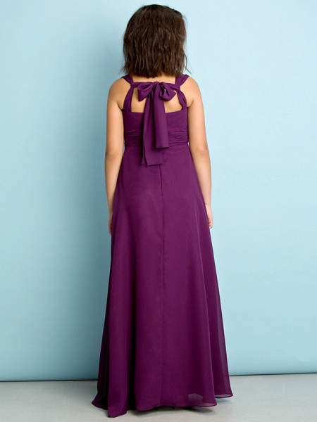 A-Line V Neck Floor Length Chiffon Junior Bridesmaid Dress With Criss Cross / Natural / Mini Me_5